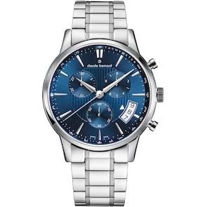 Claude Bernard Classic Chronographe Bleu / Argenté