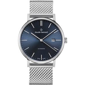 Claude Bernard Classic Slim Line Automatic Argenté / Bleu