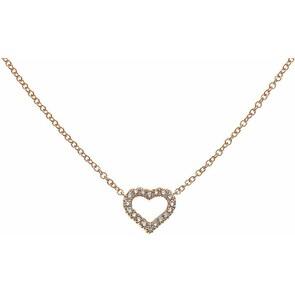 Collier 750/18 K or rose avec diamants, Cœur