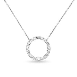 Collier 750/18 K or gris avec diamants 0.50 ct H/si
