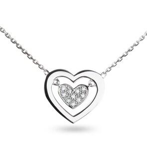 Collier 750/18 K or gris avec diamants 0.05 ct H/p1