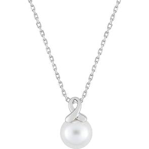 Collier Argent 925 rhodié avec perle d'imitation 8mm