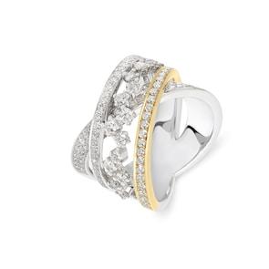 Bague 750/18 K bicolore avec diamants 1.55 ct H/Si