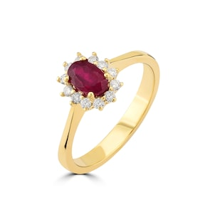 Bague 750/18 K or jaune avec diamants 0.17 ct H/si et rubis 0.78 ct