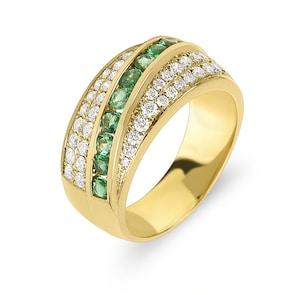 Bague pour femmes 750/18 K or jaune avec diamants 0.61 ct H/Si et émeraudes 0.54 ct