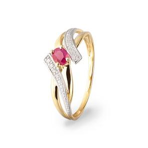 Bague 750/18 K or jaune avec rubis ovale et diamants 0.01ct.