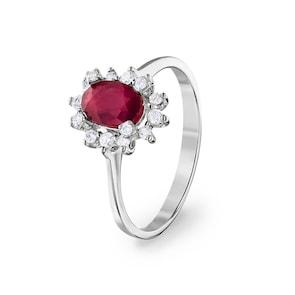 Bague 750/18 K or gris avec diamants 0.22 ct H/si et rubis 1.23 ct