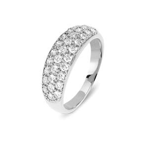 Bague pour femmes 750/18 K or gris avec diamants 0.79 ct H/Si