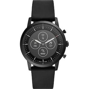 Fossil Collider Hybrid Smartwatch HR en cuir noir