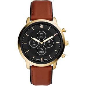 Fossil Neutra Hybrid Smartwatch HR en cuir brun