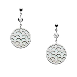 Fossil Boucle d'oreilles Sterling Silver Floral