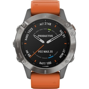 Garmin Fenix 6 Pro Saphir Gris / Orange GPS-Multisport-Smartwatch HR