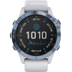 Garmin Fenix 6 Pro Solar Bleu avec bracelet blanc