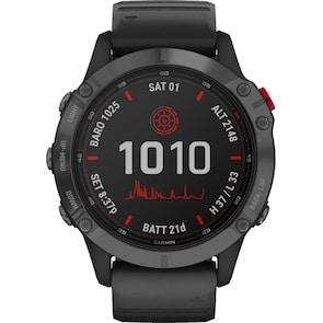 Garmin Fenix 6 Pro Solar Gris avec bracelet noir
