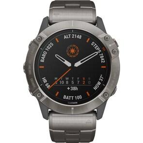 Garmin Fenix 6X Pro Solar titane avec bracelet en titane