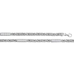 Collier chaîne royale carrée argent 925 avec zirconia 5.5mm