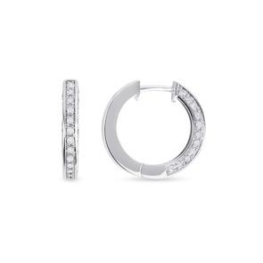Créoles 750/18 K or gris avec diamants 0.55 ct H/si