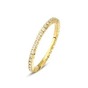 Bague Mémoire 750/18 K or jaune avec diamants 0.30 ct H/si