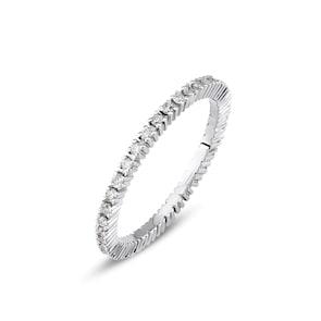 Bague Mémoire 750/18 K or gris avec diamants 0.30 ct H/si