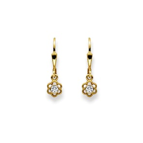 Boucle d'oreilles pendantes 750/18 K or jaune, Fleur