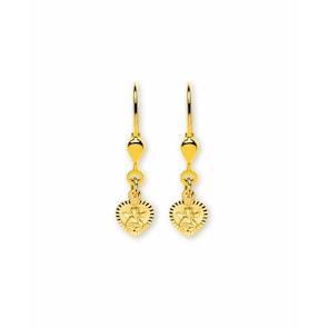 Boucle d'oreilles pendantes 750/18 K or jaune, Cœur avec ange