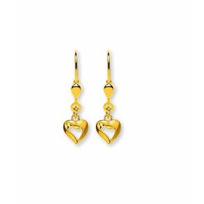 Boucle d'oreilles pendantes 750/18 K or jaune, Cœur