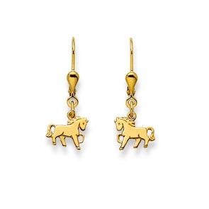 Boucle d'oreilles pendantes 750/18 K or jaune, Cheval