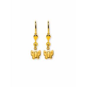 Boucle d'oreilles pendantes 750/18 K or jaune, Papillon