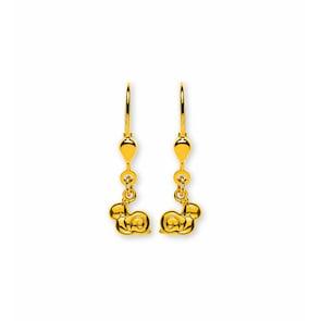 Boucle d'oreilles pendantes 750/18 K or jaune, Escargot