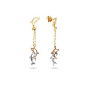 Boucle d'oreilles pendantes 750/18 K or tricolore, Dauphin