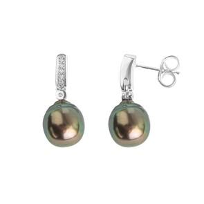 Boucle d'oreilles pendantes 750/18 K or gris avec perle de culture de Tahiti et diamants 0.06ct.