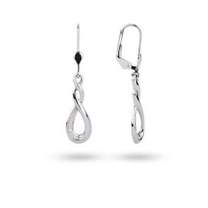Boucle d'oreilles pendantes 750/18 K or gris avec zirconia