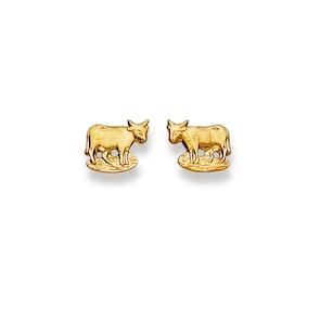 Clous d'oreilles 750/18 K or jaune, Vache