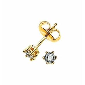 Clous d'oreilles 750/18 K or jaune avec diamant 0.10ct H/Si