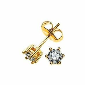 Clous d'oreilles 750/18 K or jaune avec diamant 0.25ct H/Si