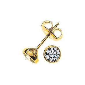 Clous d'oreilles 750/18 K or jaune avec diamant 0.33ct H/Si