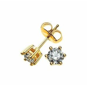 Clous d'oreilles 750/18 K or jaune avec diamant 0.50ct H/Si