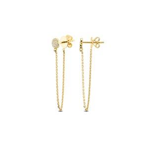 Clous d'oreilles 750/18 K or jaune avec diamants 0.11 ct H/si