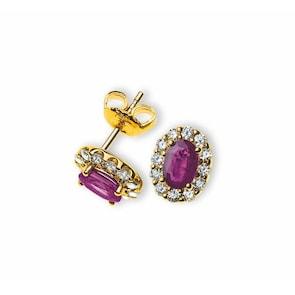 Clous d'oreilles 750/18 K or jaune avec rubis et diamants