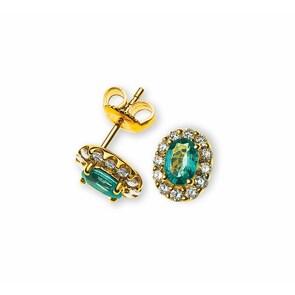 Clous d'oreilles 750/18 K or jaune avec émeraudes et diamants