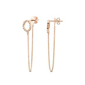 Clous d'oreilles 750/18 K or rosé avec diamant 0.39 ct H/si