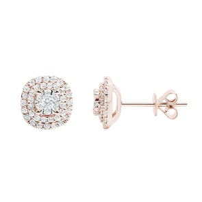 Clous d'oreilles 750/18 K or rosé avec diamants 0.50 ct H/si