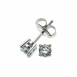 Clous d'oreilles 750/18 K or gris avec diamant 0.20ct H/Si