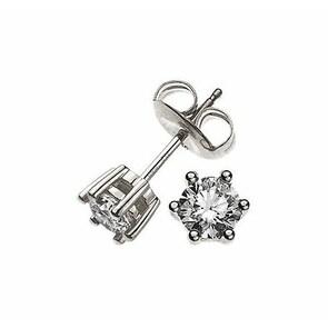 Clous d'oreilles 750/18 K or gris avec diamant 0.50ct H/Si