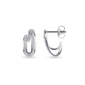 Clous d'oreilles 750/18 K or gris avec diamants 0.05 ct H/si