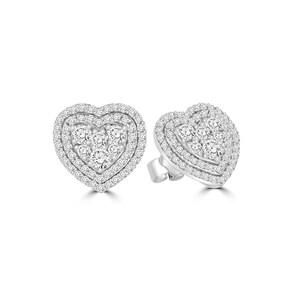 Clous d'oreilles 750/18 K or gris avec diamants 1.00 ct H/si