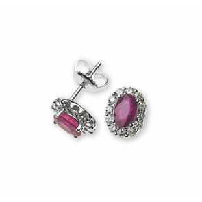Clous d'oreilles 750/18 K or gris avec rubis et diamants