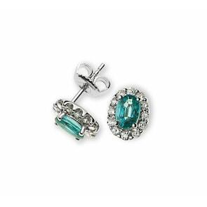 Clous d'oreilles 750/18 K or gris avec émeraudes et diamants
