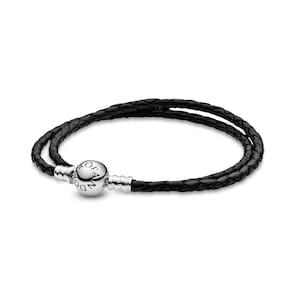 Pandora Timeless Double Bracelet en Cuir Noir