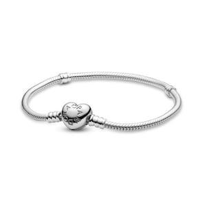 Pandora Moments Bracelet Maille Serpent Fermoir Cœur